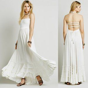 FREE PEOPLE White Halter Extratropical Maxi Dress